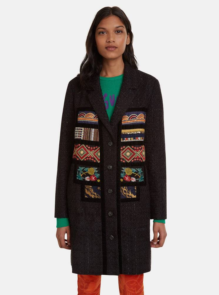 Desigual Čierny vzorovaný ľahký kabát Desigual Joy